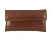 Chic Faux Leather Clutch Shoulder Bag with Long Adjustable Strap in Chestnut