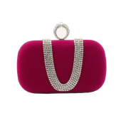 Sumolux Women's Ring Rhinestone Evening Clutch Bag Rose Red