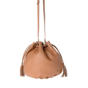 Bucket bag made in Italy leather with drawstring closure DUDU Camel