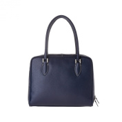 Leather handbag made in Italy with double handles and strap DUDU Blue