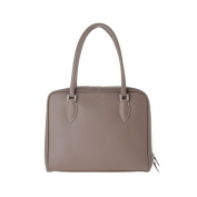 Leather handbag made in Italy with double handles and strap DUDU Dove-grey