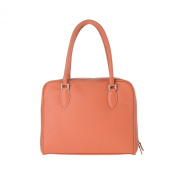 Leather handbag made in Italy with double handles and strap DUDU Orange
