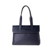 Women's leather tote bag medium size double handles DUDU Blue