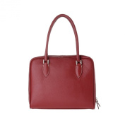 Leather handbag made in Italy with double handles and strap DUDU Bordeaux