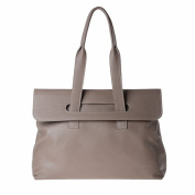Women's leather tote bag large size with double handles DUDU Dove-grey