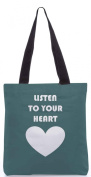Snoogg Listen to your heart 34cm x 38cm shopping utility tote bag made from Polyester Canvas