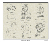 Baseball Mitt Glove Patent Collection Art | Player Coach Framed Print Gift