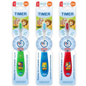 B-Brite Wild Bunch Flashing Timer Manual Toothbrush for Boys - Pack of 3