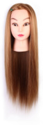 60cm Cosmetology Mannequin Head 100% Synthetic Hair Brown Colour, Practise Training Hair Styling Mannequin Head
