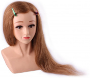 60cm cosmetology Mannequin Head 100% Human Hair Brown, Competition Mannequins, Top Quality