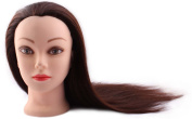 60cm Cosmetology Mannequin Head, Training Practise Cutting Styling Mannequin Head with Synthetic Hair