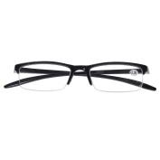 Southern Seas Black +3.00 Reading Glasses Mens Womens Half Rim Flexiable Spectacles Fashion Eyewear