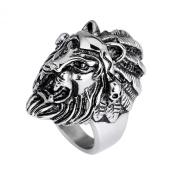 MJARTORIA Men's Gothic Lion Head Stainless Steel Biker Black Silver Colour Ring Size 9
