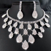 Joylive Rhinestone Crystal Necklaces+earring Hair Stick Bride Jewellery Sets for Bridal Wedding