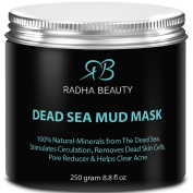 Radha Dead Sea Mud Mask 260ml - THE BEST natural facial treatment and cleanser - Minimises face Pores, Reduces Wrinkles, Helps with Acne and Improves Overall Complexion