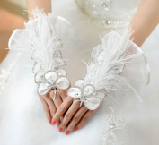 Exquisite Fingerless Tulle with Rhinestone and Feather Bridal Glove