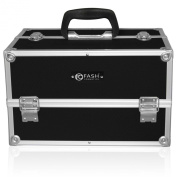 FASH Cosmetics Black Professional Aluminium Makeup Kit with Lock, Keys and Shoulder Strap