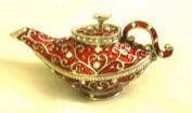 Vintage Red Enamel Aladdin Teapot - Jewellery Trinket Box (S)