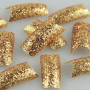 redbird2012 100pcs Glitter Gold Twinkle Slice Fashion False French Acrylic Nail Tips New