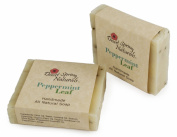 All Natural Peppermint Leaf Handmade Bar Soap by Desert Spring Naturals Made with Olive Oil and Shea Butter