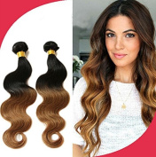 Uptop Hair®46cm - 60cm Virgin Brazilian Human Hair Extensions Body Wave Two Tone Ombre Hair Weft Col:#1b/30 100g/bundle