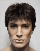 THZ Short Curly Men's Brown Wigs