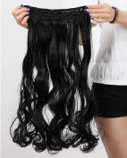 S-noilite®70cm Curly One Piece (5 Clips) Clip in Hair Extensions Dark Black