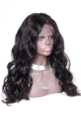 Virgin Brazilian Human Hair Lace Front Wig 180% Density Wavy Natural Colour with Silk Top Middle Part 70cm