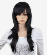 WY Blue Sky New Girl Women 60cm Black Long Full Big Curly Wave Layered Medium Size Side Swept Bangs Fringe Fashion Synthetic Cosplay Hair Wigs as Real Hair Elegant +Free Wig Cap
