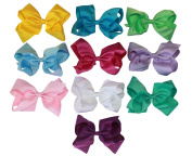 K & M Large 15cm Hair Bows with Alligator Clip Set of 10 Pastel and Bright Colours