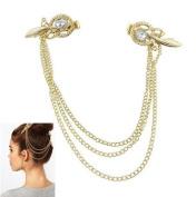Boolavard TM - Women Punk Chic Crystal Hair Cuff Pin Head Band Chains Clip Tassels Fringes