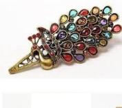 Boolavard TM Retro Colourful Vintage Alloy Crystal Jewellery Peacock Hairpin Hair Clip Bronze