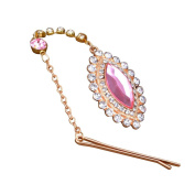 Pandahall 1 Pcs HotPink Horse Eye Alloy Rhinestone Hair Bobby Pins with Resin Beads, 210mm
