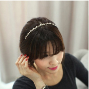 Wedding Bridal Headband Wavy Hair Bands Design with Crystal and Pearl+ Free Top-ishop Cable Tie