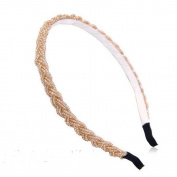 Handmade Weave Hairband Use Crystal Beaded and Fishing Line(beige) + Free Top-ishop Cable Tie