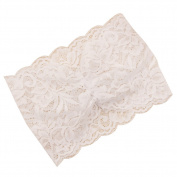 SEEKO Stretch Wide Lace Headband Headwear White