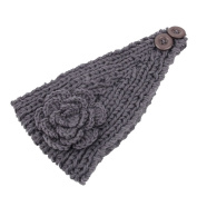 SEEKO Fashion Women Lady Camellia Warm Soft Wool Crochet Headband Knit Wide Hair Band Headwear