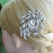 Sindary Wedding Hair Comb Bridal Headpiece 8cm Silver-tone Clear Rhinestone Crystal Peacock Hair Comb Bridal Hair Comb