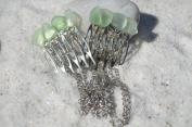 Aqua Sea Glass Decorative Hair Combs with Chain