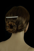 Bridal Tiara Hair Comb Silver Rhinestone Double Row