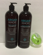 Argan Magic the Moroccan Beauty Secret Shampoo, Conditioner 950ml Each and Aj Professional Shampoo Brush