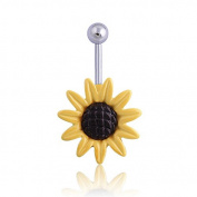 Oasis Plus Cute Yellow Black Sunflower Navel Ring Belly Button Rings Hoop Body Glitter Piercing Jewellery