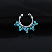 Oasis Plus Blue Crystal Silver Clip On Septum Fake Nose Ring Hoop Non Piercing Hanger Nose Rings Stud Body Jewellery