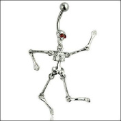 Oasis Plus Novel Skull Red Crystal Eye Navel Ring Rhinestone Belly Button Rings Hoop Body Glitter Piercing Jewellery