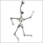 Oasis Plus Novel Skull Red Crystal Eye Navel Ring Rhinestone Belly Button Rings Hoop Body Glitter Piercing Jewellery