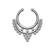 Oasis Plus 16g Gold Beaded Collar Clip On Septum Fake Nose Ring Hoop Non Piercing Hanger Nose Rings Stud Body Jewellery