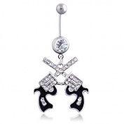 Oasis Plus Cool Revolver Clear Crystal Navel Ring Rhinestone Belly Button Rings Hoop Body Glitter Piercing Jewellery