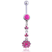 Oasis Plus Sexy Pink Crystal Navel Ring Dangle Rhinestone Belly Button Rings Hoop Body Glitter Piercing Jewellery