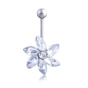 Oasis Plus Flower Clear Crystal Navel Ring Rhinestone Belly Button Rings Hoop Body Glitter Piercing Jewellery
