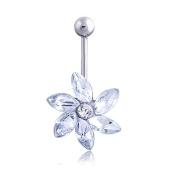 Oasis Plus Flower Clear Crystal Navel Ring Rhinestone Belly Button Rings Hoop Body Glitter Piercing Jewellery